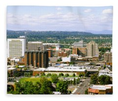 High Angle View Of A City, Spokane Fleece Blanket