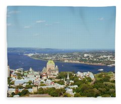 High Angle View Of A Cityscape, Chateau Fleece Blanket