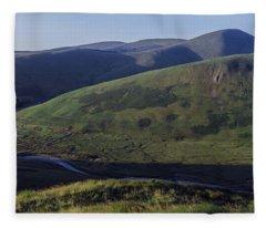 High Angle View Of Hills, Strawberry Fleece Blanket