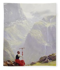 High In The Mountains Fleece Blanket