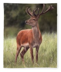 Highland Stag Painting Fleece Blanket