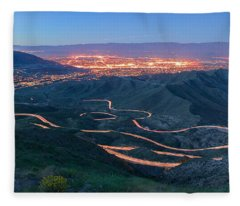 Highway 74 Palm Desert Ca Vista Point Light Painting Fleece Blanket