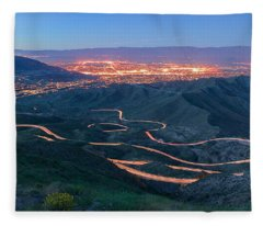 Highway 74 Palm Desert Ca Vista Point Light Painting Fleece Blanket