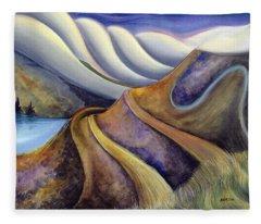 Highway With Fog Fleece Blanket