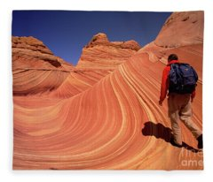 Hiker On Petrified Dunes Fleece Blanket