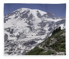 Hiking Mt Rainier Fleece Blanket