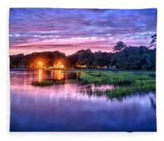 Hilton Head Evening Marsh Fleece Blanket