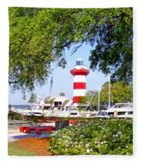 Hilton Head Lighthouse And Marina Fleece Blanket