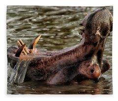 Hippo -hippopotamus Amphibius- Fleece Blanket