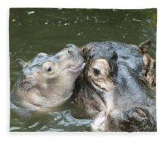Hippopotamus And Baby Fleece Blanket