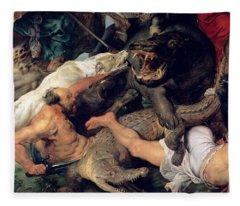 Hippopotamus And Crocodile Hunt, C.1615-16 Oil On Canvas Detail See Also 156517 Fleece Blanket