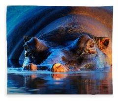 Hippopotamus  At Sunset Fleece Blanket