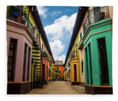 Historic Colorful Buildings Fleece Blanket