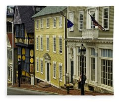 Historic Street In Providence Ri Fleece Blanket