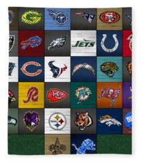 Hit The Gridiron Football League Retro Team Logos Recycled Vintage License Plate Art Fleece Blanket