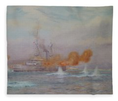 H.m.s. Albion Commanded By Capt. A. Walker-heneage Completing The Destruction Of The Outer Forts Fleece Blanket