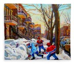 Hockey Art - Paintings Of Verdun- Montreal Street Scenes In Winter Fleece Blanket