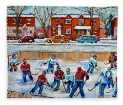 Hockey Rink At Van Horne Montreal Fleece Blanket