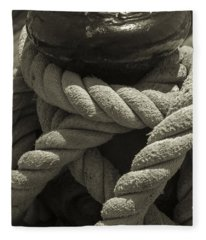 Hold On Black And White Sepia Fleece Blanket