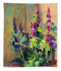 Hollyhocks At Giverny Fleece Blanket