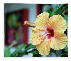 Holualoa Hibiscus Fleece Blanket