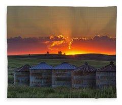 Home Town Sunset Panorama Fleece Blanket