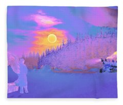 Homebound Train Angel And A Suitcase Fleece Blanket