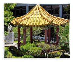 Honolulu Airport Chinese Cultural Garden Fleece Blanket