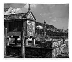 Horreo And Cruceiro In Galicia Bw Fleece Blanket