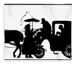 Horse And Carriage Silhouette Fleece Blanket