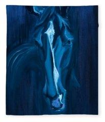 horse - Apple indigo Fleece Blanket
