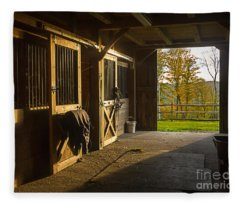 Horse Barn Sunset Fleece Blanket