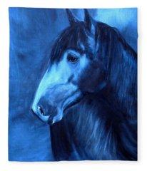 Horse - Carol In Indigo Fleece Blanket