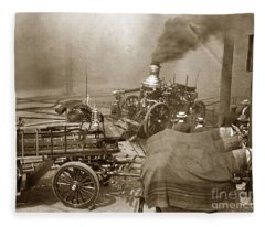 Horse Drawn Water Steam Pumper Fire Truck Circa 1906 Fleece Blanket
