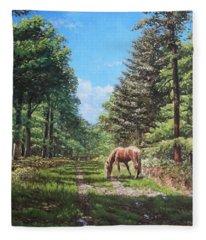 Horse In New Forest Fleece Blanket