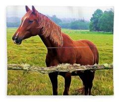 Horse In The Pasture Fleece Blanket