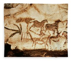Horses And Deer From The Caves At Altamira, 15000 Bc Cave Painting Fleece Blanket