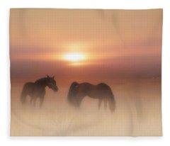 Horses In A Misty Dawn Fleece Blanket