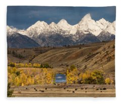 Horses On The Gros Ventre River Fleece Blanket