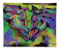 Horses Together In Colour Fleece Blanket