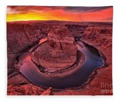 Horseshoe Bend Sunset Fleece Blanket