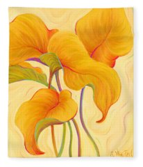 Fleece Blanket featuring the painting Hosta Hoofers by Sandi Whetzel
