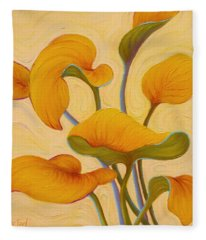 Fleece Blanket featuring the painting Hosta Hoofin' by Sandi Whetzel