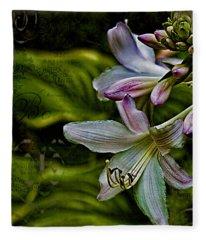 Hosta Lilies With Texture Fleece Blanket