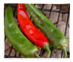 Hot And Spicy - Chiles On The Grill Fleece Blanket