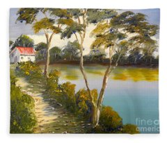 House By The Lake Fleece Blanket
