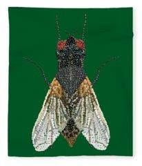 House Fly In Green Fleece Blanket