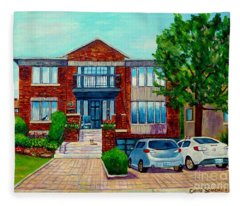 House Portrait-house  Art-commissioned  Montreal Paintings-carole Spandau Fleece Blanket