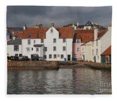 Houses At Pittenweem Harbor Fleece Blanket