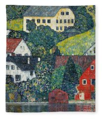 Houses At Unterach On The Attersee Fleece Blanket
